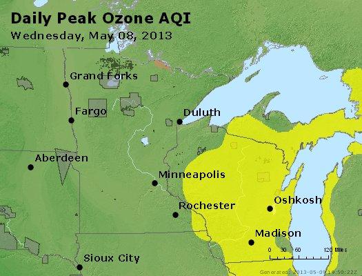 Peak Ozone (8-hour) - http://files.airnowtech.org/airnow/2013/20130508/peak_o3_mn_wi.jpg