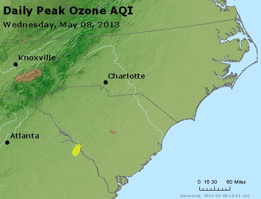 Peak Ozone (8-hour) - http://files.airnowtech.org/airnow/2013/20130508/peak_o3_nc_sc.jpg