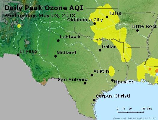 Peak Ozone (8-hour) - http://files.airnowtech.org/airnow/2013/20130508/peak_o3_tx_ok.jpg