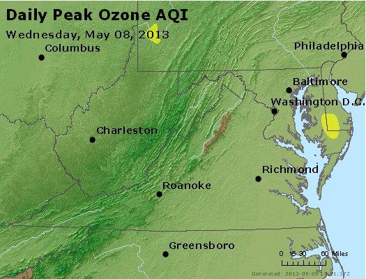Peak Ozone (8-hour) - http://files.airnowtech.org/airnow/2013/20130508/peak_o3_va_wv_md_de_dc.jpg