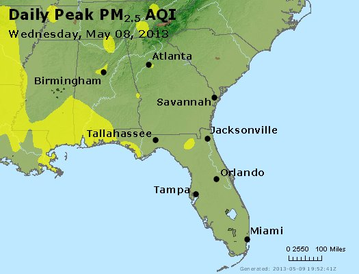 Peak Particles PM<sub>2.5</sub> (24-hour) - http://files.airnowtech.org/airnow/2013/20130508/peak_pm25_al_ga_fl.jpg