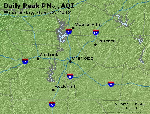 Peak Particles PM<sub>2.5</sub> (24-hour) - http://files.airnowtech.org/airnow/2013/20130508/peak_pm25_charlotte_nc.jpg