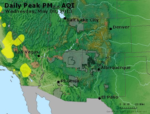 Peak Particles PM<sub>2.5</sub> (24-hour) - http://files.airnowtech.org/airnow/2013/20130508/peak_pm25_co_ut_az_nm.jpg