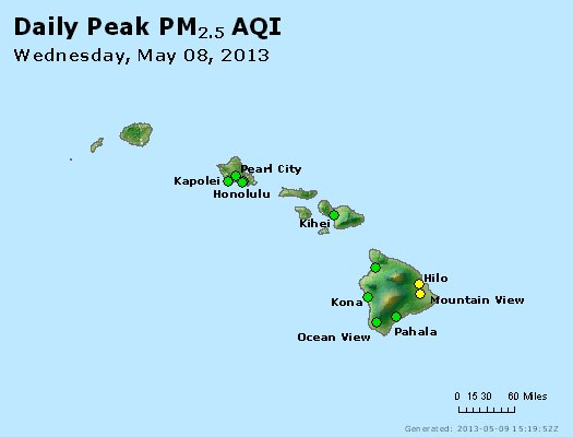 Peak Particles PM<sub>2.5</sub> (24-hour) - http://files.airnowtech.org/airnow/2013/20130508/peak_pm25_hawaii.jpg