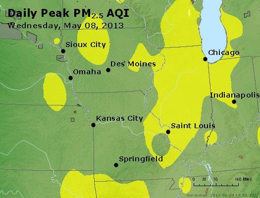 Peak Particles PM<sub>2.5</sub> (24-hour) - http://files.airnowtech.org/airnow/2013/20130508/peak_pm25_ia_il_mo.jpg