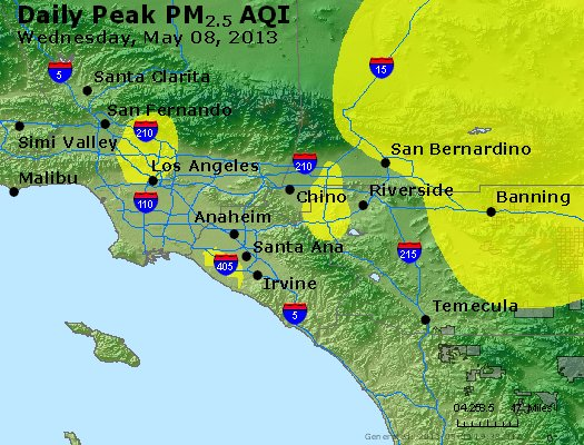 Peak Particles PM<sub>2.5</sub> (24-hour) - http://files.airnowtech.org/airnow/2013/20130508/peak_pm25_losangeles_ca.jpg