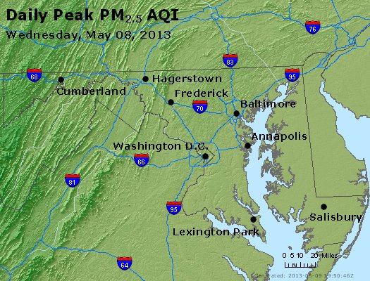 Peak Particles PM<sub>2.5</sub> (24-hour) - http://files.airnowtech.org/airnow/2013/20130508/peak_pm25_maryland.jpg