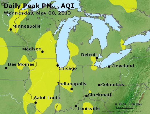 Peak Particles PM<sub>2.5</sub> (24-hour) - http://files.airnowtech.org/airnow/2013/20130508/peak_pm25_mi_in_oh.jpg