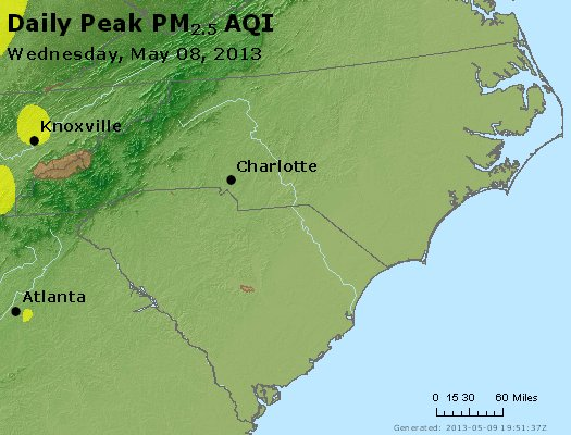 Peak Particles PM<sub>2.5</sub> (24-hour) - http://files.airnowtech.org/airnow/2013/20130508/peak_pm25_nc_sc.jpg