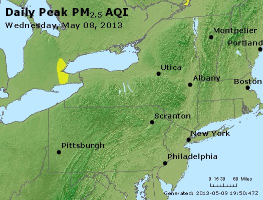 Peak Particles PM<sub>2.5</sub> (24-hour) - http://files.airnowtech.org/airnow/2013/20130508/peak_pm25_ny_pa_nj.jpg