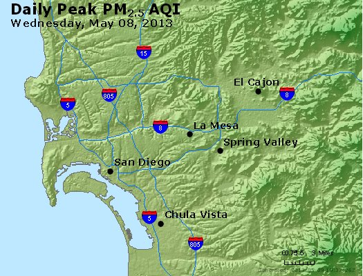 Peak Particles PM<sub>2.5</sub> (24-hour) - http://files.airnowtech.org/airnow/2013/20130508/peak_pm25_sandiego_ca.jpg