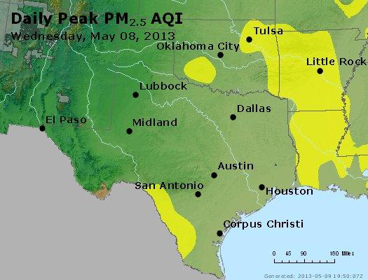 Peak Particles PM<sub>2.5</sub> (24-hour) - http://files.airnowtech.org/airnow/2013/20130508/peak_pm25_tx_ok.jpg