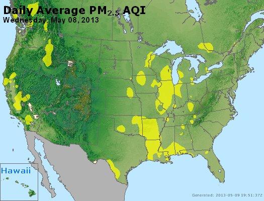 Peak Particles PM<sub>2.5</sub> (24-hour) - http://files.airnowtech.org/airnow/2013/20130508/peak_pm25_usa.jpg