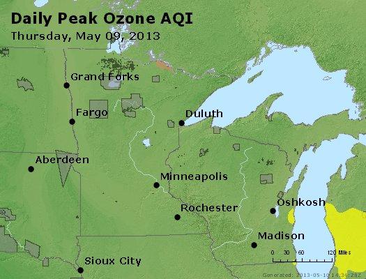 Peak Ozone (8-hour) - http://files.airnowtech.org/airnow/2013/20130509/peak_o3_mn_wi.jpg