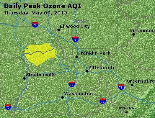 Peak Ozone (8-hour) - http://files.airnowtech.org/airnow/2013/20130509/peak_o3_pittsburgh_pa.jpg