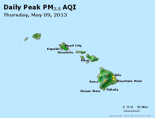 Peak Particles PM<sub>2.5</sub> (24-hour) - http://files.airnowtech.org/airnow/2013/20130509/peak_pm25_hawaii.jpg
