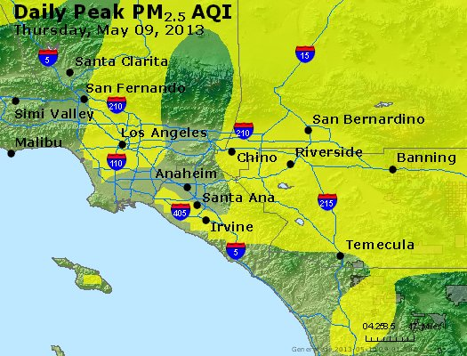 Peak Particles PM<sub>2.5</sub> (24-hour) - http://files.airnowtech.org/airnow/2013/20130509/peak_pm25_losangeles_ca.jpg