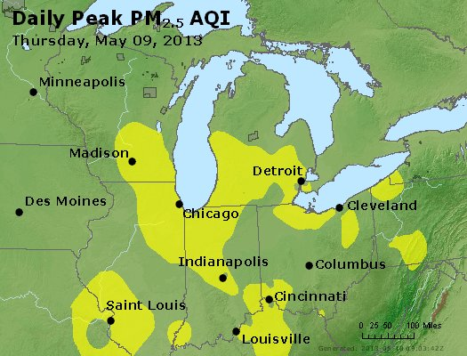 Peak Particles PM<sub>2.5</sub> (24-hour) - http://files.airnowtech.org/airnow/2013/20130509/peak_pm25_mi_in_oh.jpg