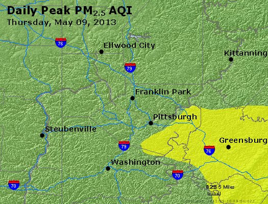Peak Particles PM<sub>2.5</sub> (24-hour) - http://files.airnowtech.org/airnow/2013/20130509/peak_pm25_pittsburgh_pa.jpg