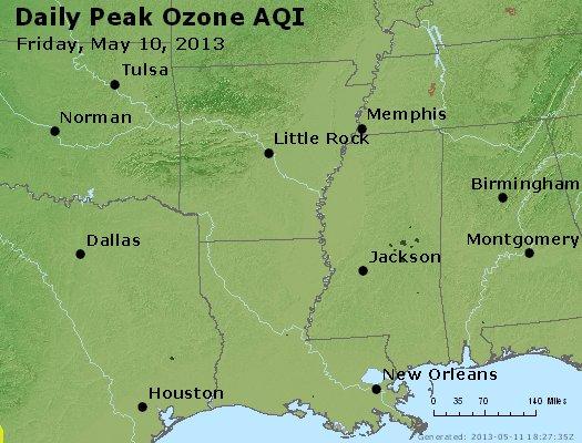 Peak Ozone (8-hour) - http://files.airnowtech.org/airnow/2013/20130510/peak_o3_ar_la_ms.jpg