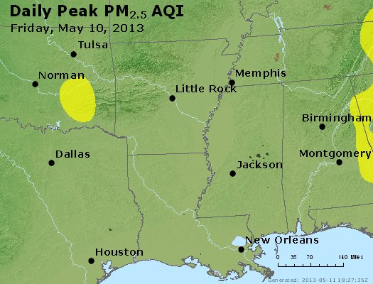 Peak Particles PM<sub>2.5</sub> (24-hour) - http://files.airnowtech.org/airnow/2013/20130510/peak_pm25_ar_la_ms.jpg