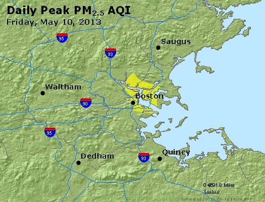Peak Particles PM<sub>2.5</sub> (24-hour) - http://files.airnowtech.org/airnow/2013/20130510/peak_pm25_boston_ma.jpg