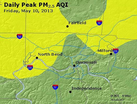 Peak Particles PM<sub>2.5</sub> (24-hour) - http://files.airnowtech.org/airnow/2013/20130510/peak_pm25_cincinnati_oh.jpg
