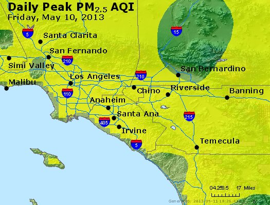 Peak Particles PM<sub>2.5</sub> (24-hour) - http://files.airnowtech.org/airnow/2013/20130510/peak_pm25_losangeles_ca.jpg