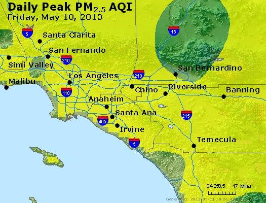 Peak Particles PM<sub>2.5</sub> (24-hour) - http://files.airnowtech.org/airnow/2013/20130510/peak_pm25_losangeles_ca.jpg