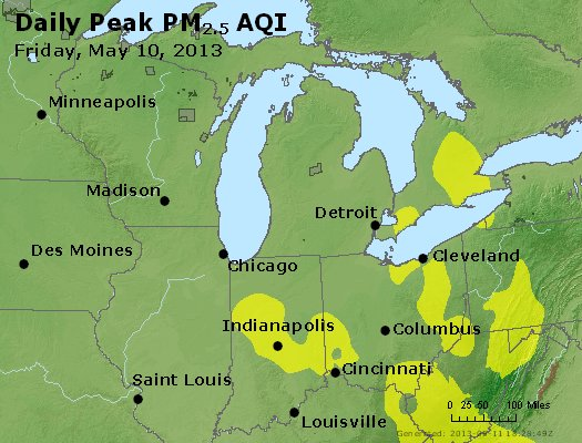 Peak Particles PM<sub>2.5</sub> (24-hour) - http://files.airnowtech.org/airnow/2013/20130510/peak_pm25_mi_in_oh.jpg