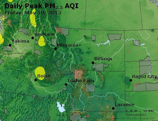 Peak Particles PM<sub>2.5</sub> (24-hour) - http://files.airnowtech.org/airnow/2013/20130510/peak_pm25_mt_id_wy.jpg