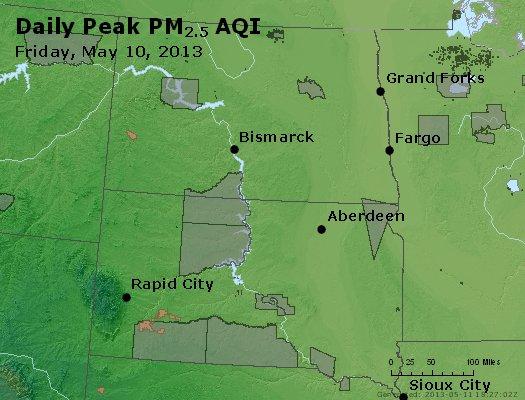 Peak Particles PM<sub>2.5</sub> (24-hour) - http://files.airnowtech.org/airnow/2013/20130510/peak_pm25_nd_sd.jpg