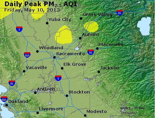 Peak Particles PM<sub>2.5</sub> (24-hour) - http://files.airnowtech.org/airnow/2013/20130510/peak_pm25_sacramento_ca.jpg