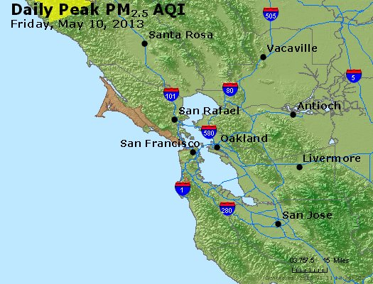 Peak Particles PM<sub>2.5</sub> (24-hour) - http://files.airnowtech.org/airnow/2013/20130510/peak_pm25_sanfrancisco_ca.jpg