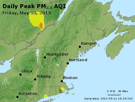 Peak Particles PM<sub>2.5</sub> (24-hour) - http://files.airnowtech.org/airnow/2013/20130510/peak_pm25_vt_nh_ma_ct_ri_me.jpg