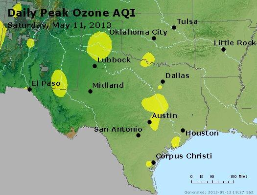 Peak Ozone (8-hour) - http://files.airnowtech.org/airnow/2013/20130511/peak_o3_tx_ok.jpg