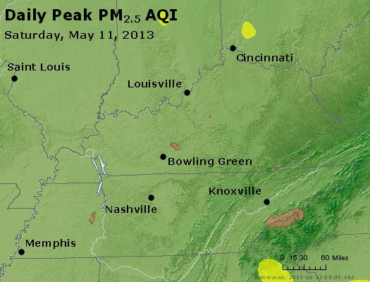 Peak Particles PM<sub>2.5</sub> (24-hour) - http://files.airnowtech.org/airnow/2013/20130511/peak_pm25_ky_tn.jpg