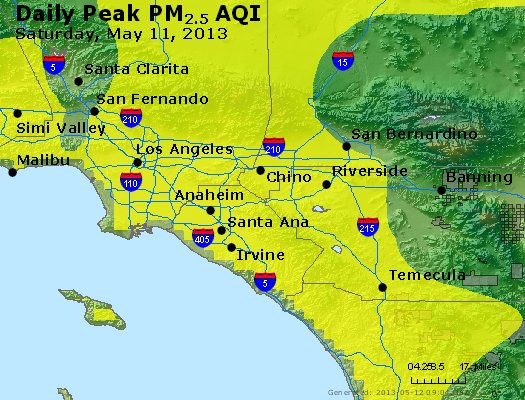 Peak Particles PM<sub>2.5</sub> (24-hour) - http://files.airnowtech.org/airnow/2013/20130511/peak_pm25_losangeles_ca.jpg