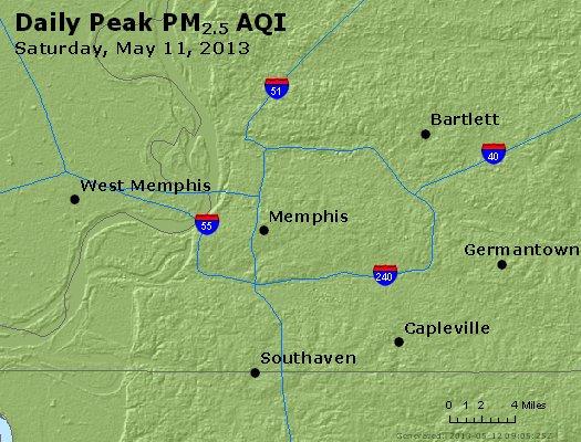 Peak Particles PM<sub>2.5</sub> (24-hour) - http://files.airnowtech.org/airnow/2013/20130511/peak_pm25_memphis_tn.jpg