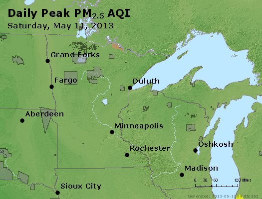Peak Particles PM<sub>2.5</sub> (24-hour) - http://files.airnowtech.org/airnow/2013/20130511/peak_pm25_mn_wi.jpg