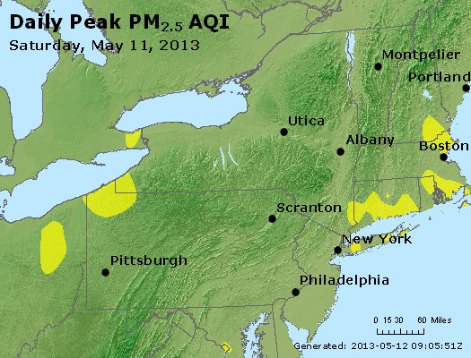 Peak Particles PM<sub>2.5</sub> (24-hour) - http://files.airnowtech.org/airnow/2013/20130511/peak_pm25_ny_pa_nj.jpg