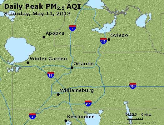 Peak Particles PM<sub>2.5</sub> (24-hour) - http://files.airnowtech.org/airnow/2013/20130511/peak_pm25_orlando_fl.jpg