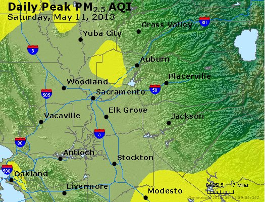 Peak Particles PM<sub>2.5</sub> (24-hour) - http://files.airnowtech.org/airnow/2013/20130511/peak_pm25_sacramento_ca.jpg