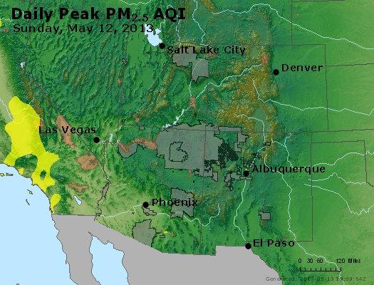 Peak Particles PM<sub>2.5</sub> (24-hour) - http://files.airnowtech.org/airnow/2013/20130512/peak_pm25_co_ut_az_nm.jpg
