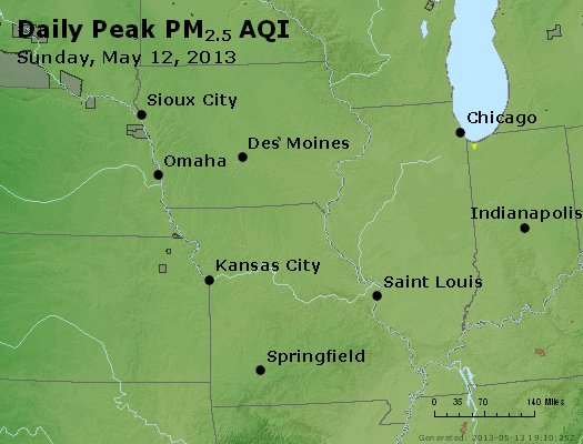 Peak Particles PM<sub>2.5</sub> (24-hour) - http://files.airnowtech.org/airnow/2013/20130512/peak_pm25_ia_il_mo.jpg