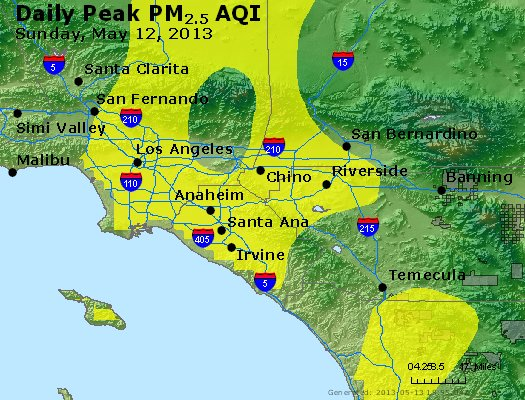 Peak Particles PM<sub>2.5</sub> (24-hour) - http://files.airnowtech.org/airnow/2013/20130512/peak_pm25_losangeles_ca.jpg