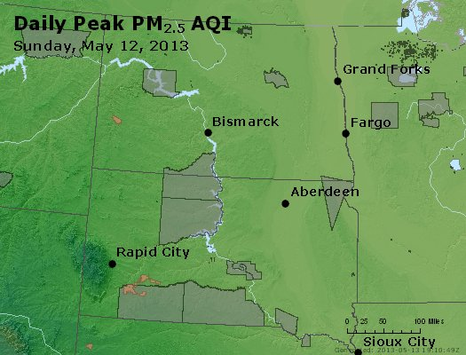 Peak Particles PM<sub>2.5</sub> (24-hour) - http://files.airnowtech.org/airnow/2013/20130512/peak_pm25_nd_sd.jpg