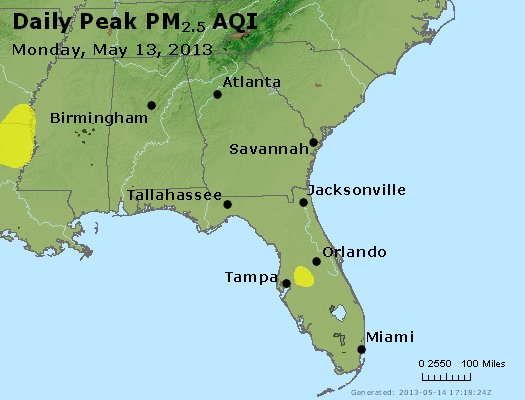 Peak Particles PM<sub>2.5</sub> (24-hour) - http://files.airnowtech.org/airnow/2013/20130513/peak_pm25_al_ga_fl.jpg