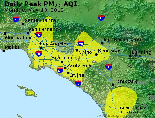 Peak Particles PM<sub>2.5</sub> (24-hour) - http://files.airnowtech.org/airnow/2013/20130513/peak_pm25_losangeles_ca.jpg