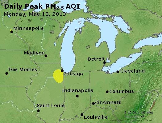 Peak Particles PM<sub>2.5</sub> (24-hour) - http://files.airnowtech.org/airnow/2013/20130513/peak_pm25_mi_in_oh.jpg